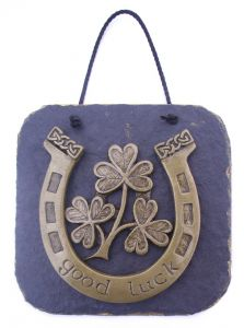 Lucky Irish horseshoe wall plaque with shamrock design.